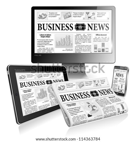 Digital News Concept with Business Newspaper on screen Tablet PC, Full HD Monitor and Smartphone, vector - stock vector