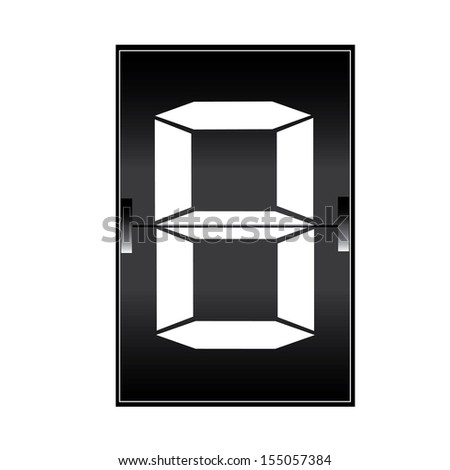 digital number 8 on a mechanical timetable - stock vector