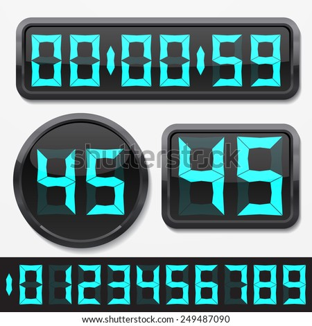 digital numbers and basic clock body shapes set.(cyan numbers and shiny plastic body version)