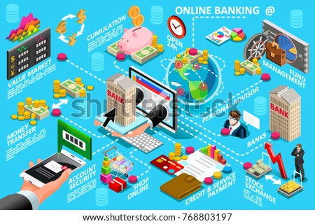 Digital online banking process for money transaction vector infogrphic. Mobile service payment transfer financial operations between banks concept. Hands holding phone and hand offering house through