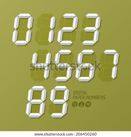 Digital paper numbers set. Vector. - stock vector