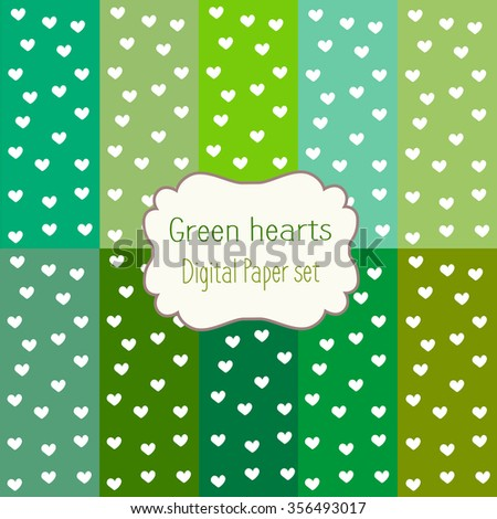 digital paper set with hearts