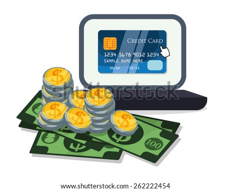 Digital payment design over white background, vector illustration. - stock vector