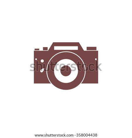 Digital photo camera Colorful vector icon. Simple retro color modern illustration pictogram. Collection concept symbol for infographic project and logo - stock vector