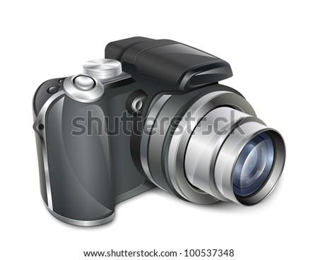 Digital photo camera. Professional illustration in EPS10 vector format - stock vector