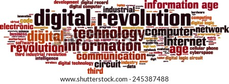 Digital revolution word cloud concept. Vector illustration - stock vector