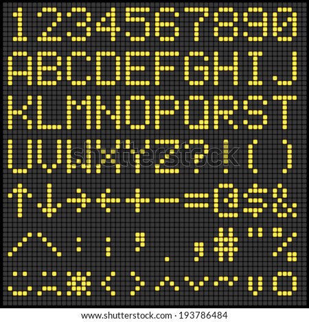 Digital Scoreboard Alphabet and Numbers