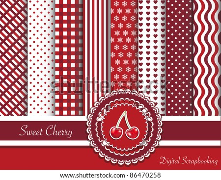 Digital scrapbooking paper swatches in red tones with ribbon and sweet cherry sticker. EPS10 vector format.