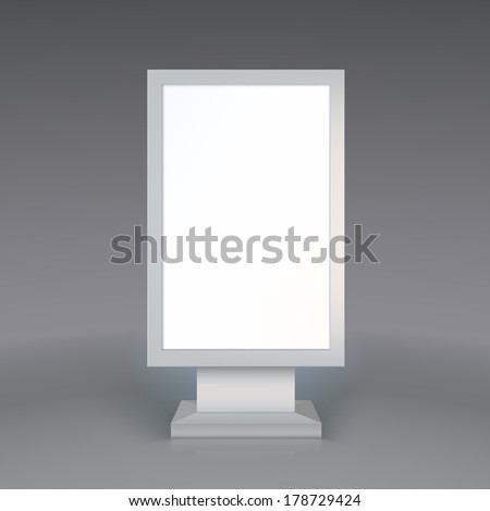 Digital Signage. Blank advertising billboard on gray background - stock vector