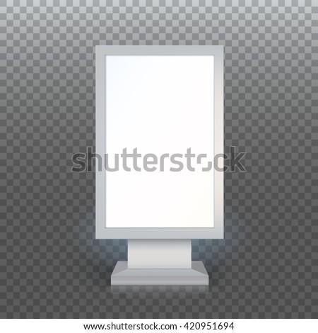 Digital Signage. Blank advertising billboard on transparent background, Vertical blank lightbox, vector illustration. - stock vector