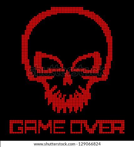 Digital skull virus on black background - stock vector
