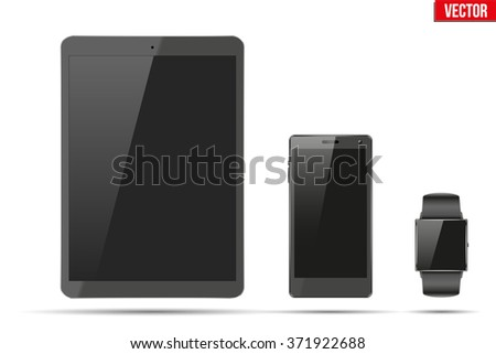 Digital smart watch, tablet PC and touchscreen smartphone. Mock-up design. Vector Illustration isolated on white background - stock vector