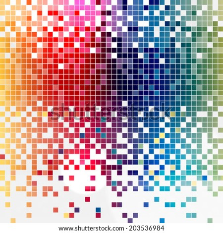 Digital Squares Color Mosaic Background - stock vector