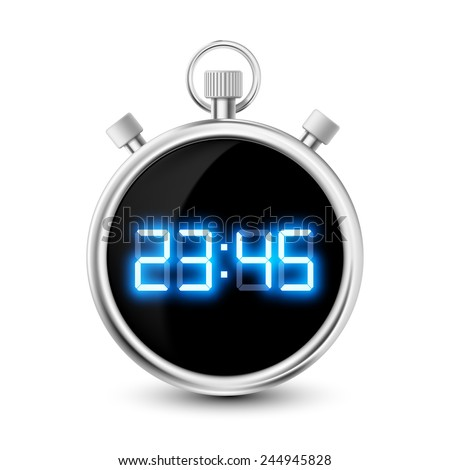 digital stopwatch with blue numerals isolated on white background - stock vector