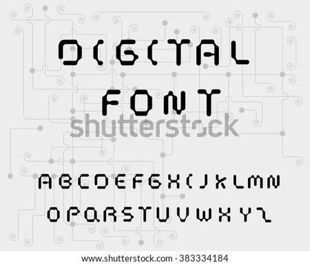 Digital style font - stock vector
