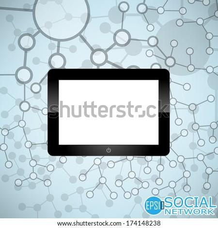 Digital tablet Molecule And Communication Background - Vector Illustration, Graphic Design Useful For Your Design - stock vector