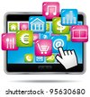 Digital tablet with apps and hand cursor. Vector icon. - stock photo