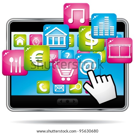 Digital tablet with apps and hand cursor. Vector icon. - stock vector