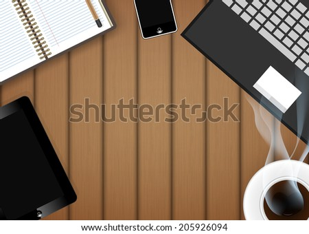 digital tablet with coffee cup and phone on table- Vector - stock vector