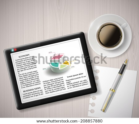 digital tablet with info graphics and a cup of coffee - stock vector