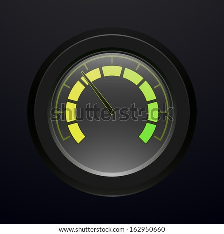 Digital tachometer, with neon light, vector illustration - stock vector
