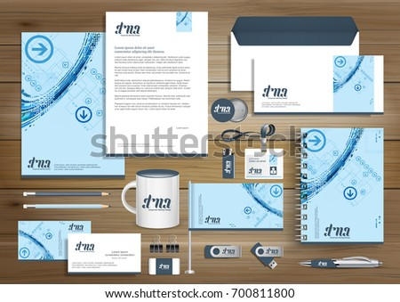Digital tech corporate identity gift items stock vector 700811800 digital tech corporate identity gift items template design with link set concept element business negle Image collections