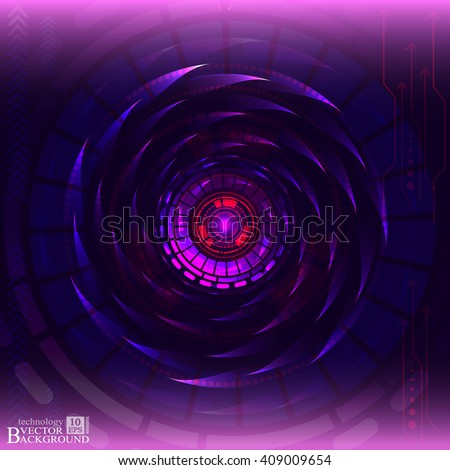 Digital technology and engineering, digital telecoms technology concept, Abstract futuristic- technology on purple color background. Vector - stock vector