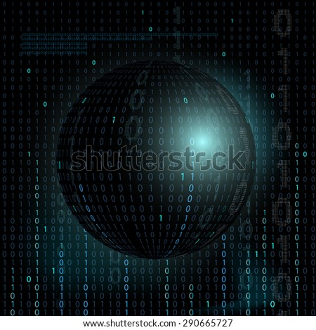 Digital technology background. Abstract background information. Binary code. Stock Vector.