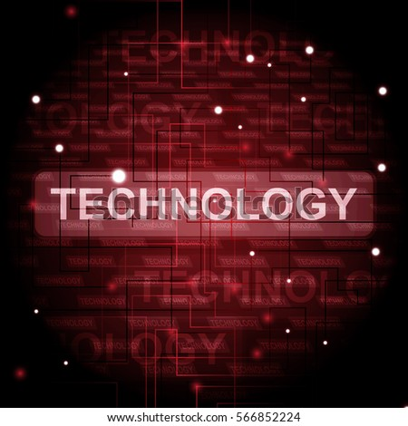 Digital technology on red background vector illustration