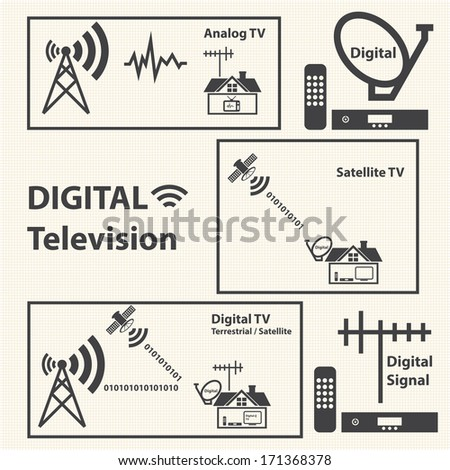 Digital Television concept with texture background. Vector - stock vector