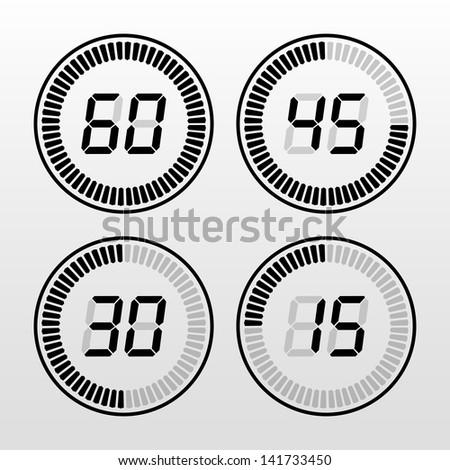 Digital timer black and white - stock vector