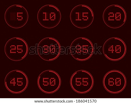 digital timer, dotted - stock vector