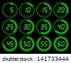 Digital timer green - stock photo