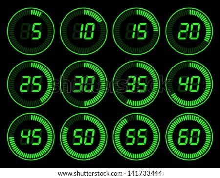 Digital timer green - stock vector