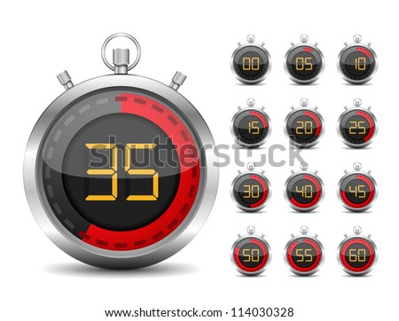 Digital timer, vector eps10 illustration - stock vector
