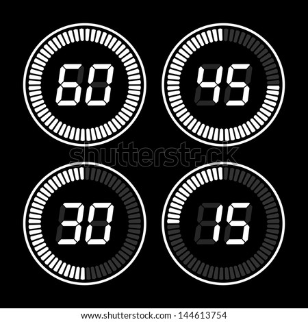 Digital timer. White on a black background. - stock vector