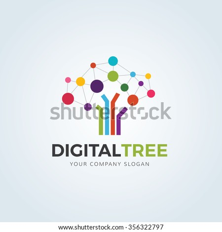 Digital Tree logo,Tree logo,Creative logo,Vector logo template.