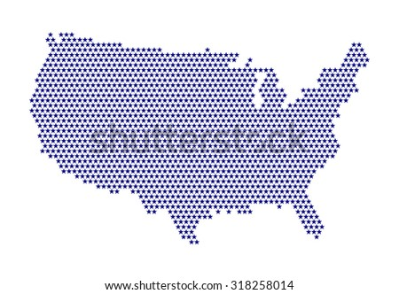 Digital usa map of stars - purple color. Cartography concept, map in shape of united states of america continent - pixel graphic design. vector art image illustration, isolated on white background - stock vector