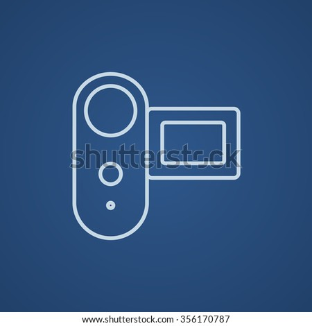Digital video camera line icon for web, mobile and infographics. Vector light blue icon isolated on blue background.