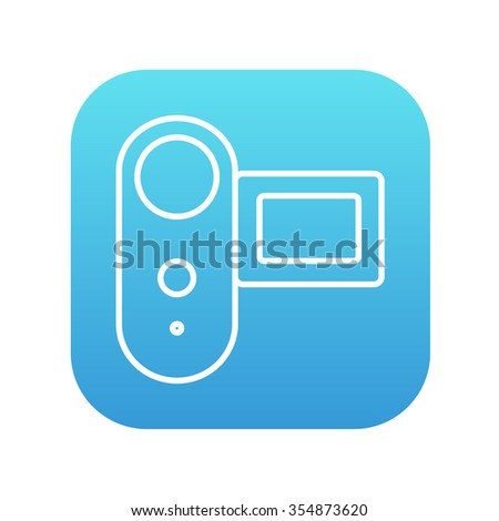 Digital video camera line icon for web, mobile and infographics. Vector white icon on the blue gradient square with rounded corners isolated on white background.