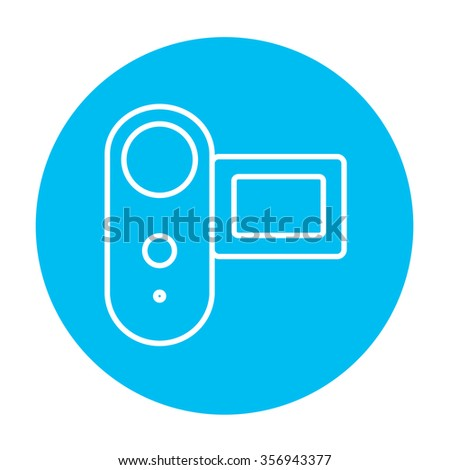 Digital video camera line icon for web, mobile and infographics. Vector white icon on the light blue circle isolated on white background.