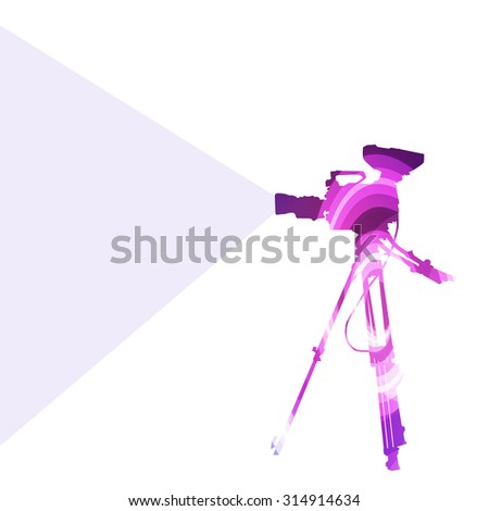 Digital video movie camera silhouette illustration vector background colorful concept made of transparent curved shapes - stock vector