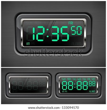 Digital watch black with green dial. Vector Illustration.