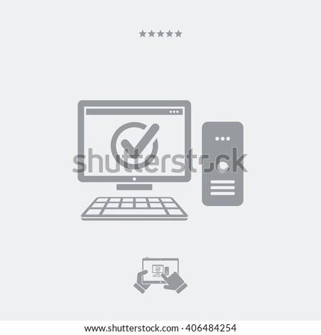 Digital workstation check -  Single essential icon - stock vector