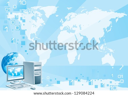 Digital world - Europe. Vector illustration of the computer with the flat monitor, the mouse and the globe on an abstract background with a world map - stock vector