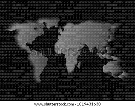 Digital World Map Sign Binary Code Stock Vector - Big black and white world map