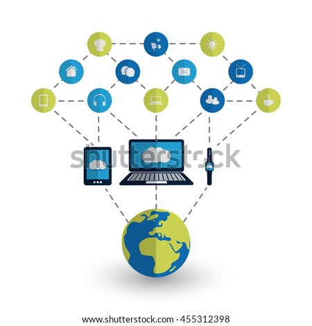 Digital World - Networks, IoT and Cloud Computing Concept Design with Earth Globe and Icons - stock vector