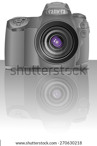 digitally camera gray color on the surface of a mirror image - stock vector