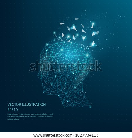 Digitally drawn thinkers head and brain low poly wire frame on dark blue background. Abstract connection lines polygon with geometry triangle.