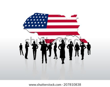 Digitally generated Business people standing under usa graphic